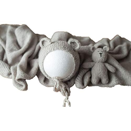 3-teiliges Set für Neugeborene und Kleinkinder, Fotografie-Requisiten, Strickmütze, Wickeldecke, Puppen-Set.