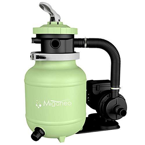Miganeo 40385 Sandfilteranlage Dynamic 6500 Pumpleistung 4,5m³ blau, grau, schwarz, grün für Pool Schwimmbecken (Grün)