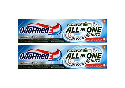 2x Odol-Med 3 Zahnpasta All in One Extra Frisch, 75 ml Zuckersäuren-Schutz