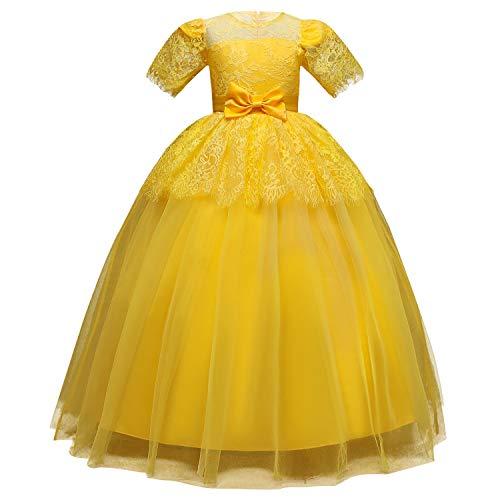 Vestido de Nios Vestido largo de los nios vestido de novia de encaje vestido de las muchachas mullidas de cumpleaos vestido de princesa para el Baile de Graduacin ( Color : Yellow , Size : 170cm )