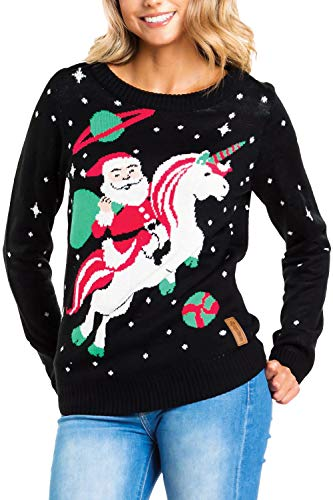 Tipsy Elves Women's Santa Unicorn Christmas Sweater Small Black