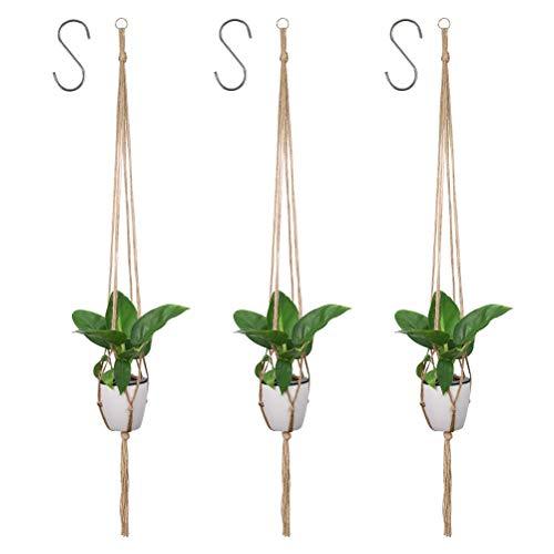 """""""N/A"""" 3 Stück Blumentopf Hängend Blumenampel Seil Pflanzenhänger mit S Haken Pflanzen Halter Blumenampel Aufhänger aus Jute für Innen Außen Decken Balkone"""