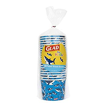 Glad Disposable Paper Snack Cups in Shark Design | Snack Cup Paper Bowls for Kids | 12 Oz Paper Bowl Microwavable Soak Proof Snack Cups Disposable Bowls 20 Count