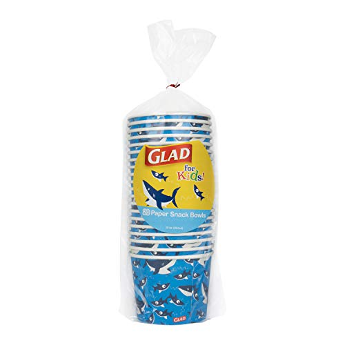 Glad Disposable Paper Snack Cups in Shark Design   Snack Cup Paper Bowls for Kids   12 Oz Paper Bowl Microwavable Soak Proof Snack Cups Disposable Bowls, 20 Count
