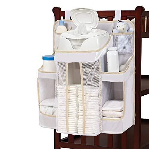 Kwekerij en luier Organizer voor het ophangen van baby Essentials op wieg veranderen tafel muur en kast grijs Ivoor