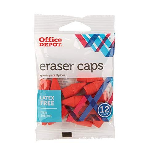 Office Depot Eraser Caps, Red, Pack Of 12, 54116