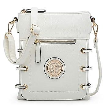 Dasein Women Double Zipper Compartment Crossbody Bag Lightweight Shoulder Purse with Multi Pockets  White
