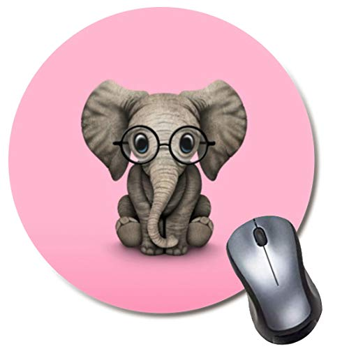 Yaxazepluy - Baby Elephant with Reading Glasses Pink Mouse Pad, Gaming Round Mousepad for Computer Laptop Non-Slip Rubber Desk Mat,Cute Office Gift(8 Inch)