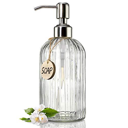 Jasai Seifenspender aus durchsichtigem Glas, mit rostfreier Edelstahl-Pumpe, nachfüllbarer Flüssigseifenspender für Badezimmer, hochwertiger Seifenspender für die Küche (transparent), 530 ml