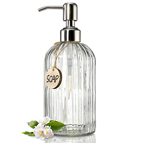 JASAI 18 Oz Clear Glass Soap Dispenser with Rust Proof Stainless Steel Pump, Refillable Liquid Hand Soap Dispenser for Bathroom, Premium Kitchen Soap...