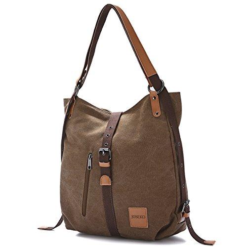 JOSEKO Canvas Tasche, Damen Rucksack Handtasche Vintage Umhängentasche Anti Diebstahl Hobotasche für Alltag Büro Schule Ausflug Einkauf(Kaffee)