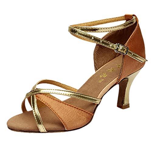 Dorical Damen Mädchen Tanzschuhe/Latein Sandale mit 5/7cm Absatz/Soziale Partei Tango Tanzschuhe/Ballsaal Tanzschuhe für Halloween Performance-Schuhe Valentinstag Schuhe (Braun,39 EU)
