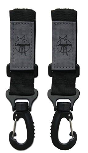LÄSSIG Kinderwagenbefestigung (2 Stk.) Klettverschluss Haken Kinderwagenhaken Einkaufshaken Kunstoff/Stroller Hooks, schwarz