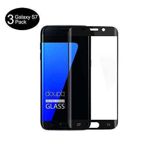AMNIE [3 Stück Panzerglas Schutzfolie für Samsung Galaxy S7, Anti-Öl, HD, 9H Härte, Blasen und Fingerabdruck, Einfaches Anbringen, Kratzer, Klar Displayschutzfolie für Samsung Galaxy S7 – Schwarz