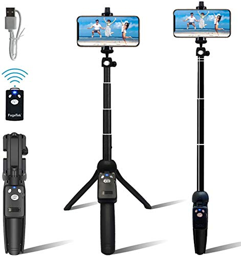 """Fugetek Portable 48"""" Selfie Stick & Tripod, Extendable, Bluetooth Remote, All in One, Lightweight Aluminum, Photos, Video, TIK Tok, Compatible with iPhone 12,11/Xs MAX/XR/XS/X, Galaxy S12, S10/S9/"""