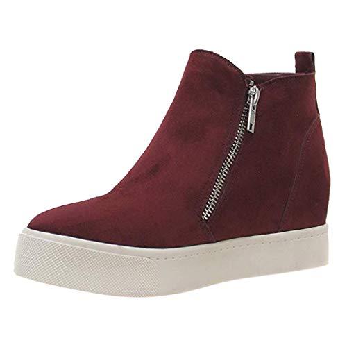 Frauen Stiefeletten Flache Beiläufige Reißverschluss Einzelne Schuhe Übergröße Booties Studenten Kurze Laufschuhe(Wein,37 EU)