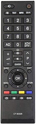 Nuevo Control Remoto Toshiba CT-90326 de reemplazo, no se Necesita configuración TV Control Remoto Universal - Compatible con Toshiba 40LV703G1 40LV733F 40LV733N 40LV675 40LV675D 40LV833F 40LV833G