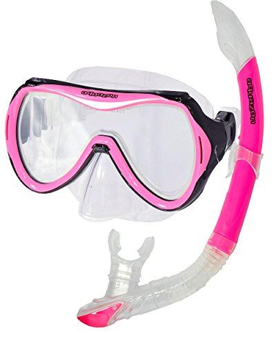 AQUAZON CAPRI Equipo de esnórquel de alta calidad, equipo de buceo, equipo de natación, gafas de esnórquel con cristal templado, para niños, adolescentes de 7 a 14 años., colour:pink
