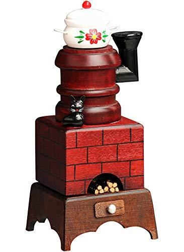 Yanka-style - Bruciatore per affumicatura a forma di omino affumicatore con pentola, ca. Decorazione natalizia in legno, altezza 20 cm (30212)