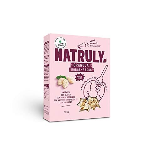 NATRULY Granola BIO de Frutos Secos y Semillas Sin Cereales, Sin Gluten y Sin Azúcar Refinado, Vegana, Sabor Moras y Pasas -325g