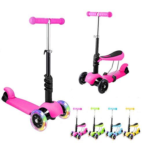 Casulo Patinete de Tres 3 Ruedas con Led Luces Altura Ajustable Scooter para Niños, Pequeños Niños de 3 Años o Más Patinetes (Rosado)