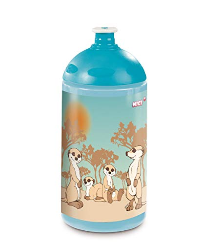 NICI 45441 Trinkflasche, Erdmännchen-Familie, 0,5l, blau