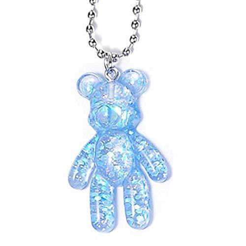 MYBOON - Collar de Oso de Resina de gelatina Transparente Multicolor con Dibujos Animados, Collar Bonito para niña, Joya, Collar, Azul Claro