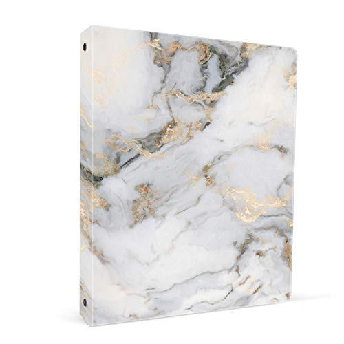 ZAXMEY 3 Ring Binder 1 Inch Ring, Fashion Design Binder for School, Home, Students, Women, Man and Kids, Cute Custom Pattern, with Hold Letter Size Interior Pockets, White Marble