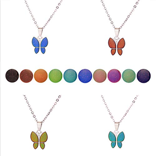 Myya Mariposa Cambio de Color de Piedras Preciosas con Temperatura Collar Mariposa Magia emoción sentimiento Humor Colgante Collar joyería