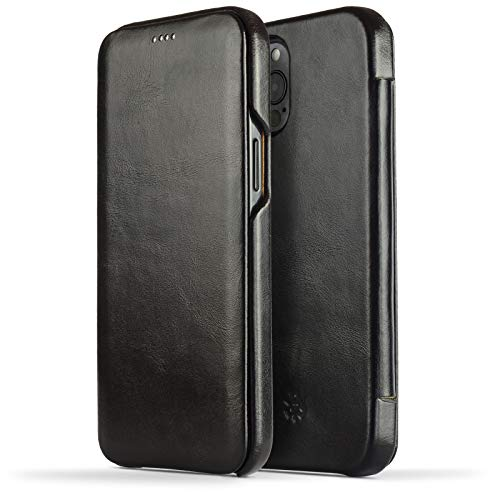 NOVADA Schutzhülle für iPhone 12 Pro Max, echtes Leder, Schwarz