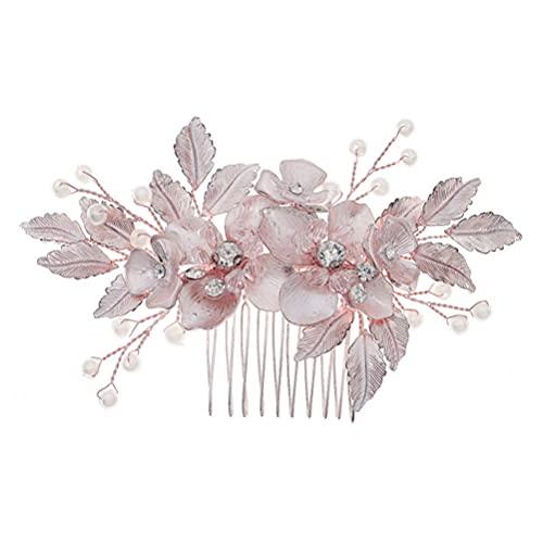 Minkissy Horquillas para El Pelo de Novia Horquillas para El Pelo Pasadores para El Pelo Pasadores para El Pelo Pasadores para El Pelo Tocado para Damas de Honor (Oro Rosa)