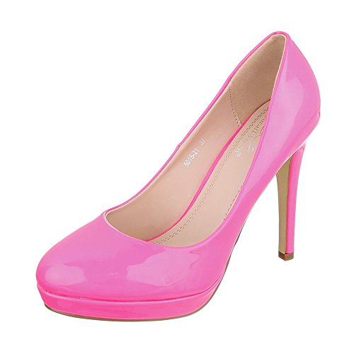Ital-Design High Heel Damen-Schuhe Plateau Pfennig-/Stilettoabsatz High Heels Pumps Pink, Gr 37, 5015-21-