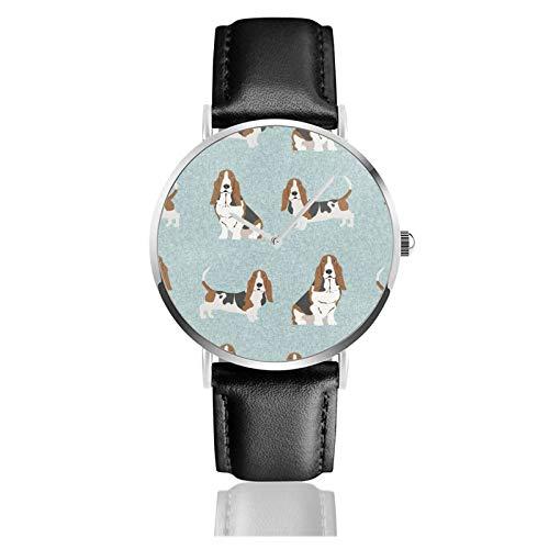 Reloj de cuero Basset Hound Pet Dog Unisex Clásico Casual Moda Reloj de cuarzo Reloj de acero inoxidable con correa de cuero