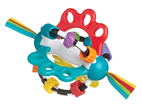 Playgro Pelota Sonajero, Sin BPA, Desde los 6 Meses, Explor-a-Ball, Multicolor (Azul, Rojo, Blanco, Verde), 40122, 17 x 12 x 12 cm