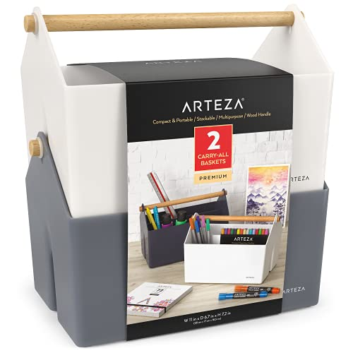 Arteza Plastic Portable Craft Storage Organizer, Pack of 2, Gray and Ivory,...