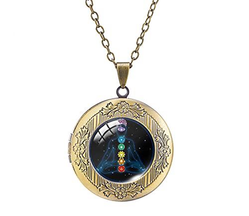 Collar con colgante de medallón de meditación de Buddha para yoga, diseño de cúpula, hecho a mano