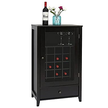 Peach Tree Sideboard Cabinet Wine Storage Wine Cabinet Table Big Storage Useful Buffet Table Kitchen Furniture, Black