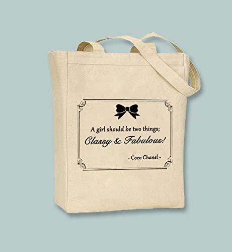 Coco Chanel Zitat Classy and Fabulous auf natürlicher oder schwarzer Leinwand, Farbe erhältlich