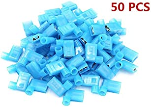 Terminals Connector,Flag Type Terminal Nylon Insulated Female Push 90 Degree On Wire Terminal Connector 16-14 AWG 50PCS