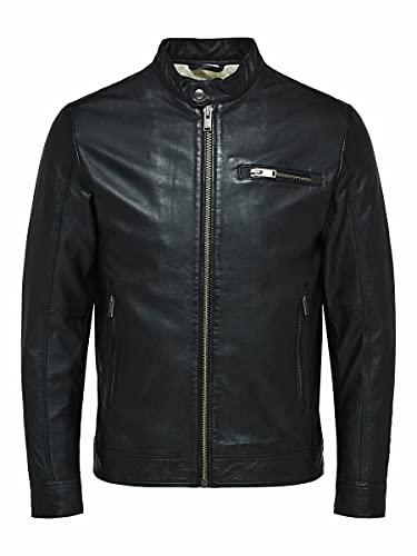 SELECTED HOMME SLHICONIC Classic Leather JKT W Noos Chaqueta de Cuero, Negro, L para Hombre