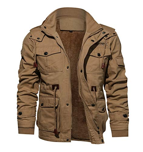 TACVASEN Men's Military Cargo Jacket Windproof Hiking Outwear Coat Khaki, US XS/Tag L
