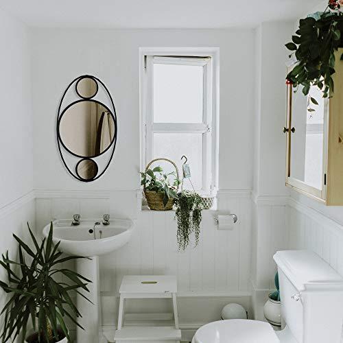 BAUPOR Soho Miroir mural en métal Design unique Ovale Miroir décoratif pour entrée, salon, salle de bain, bureau Art moderne Cadre noir et verre miroir doré 42 x 74 cm