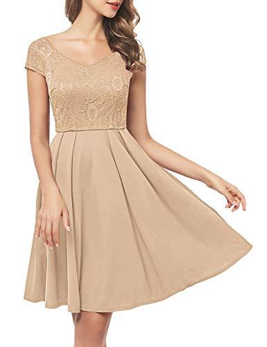 Bbonlinedress schwarzes Kleid Damen cocktailkleid Gelb Damen Rockabilly Kleider Damen Kleider Hochzeit Abendkleider lang Geschenk für Frauen Petticoat Kleid Champagne S
