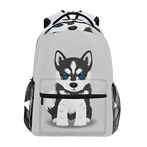 Wamika Siberian Husky Puppy Backpacks for Kids Women Men Dog Design Computer Laptop Backpack Cute Puppy Casual Book Bag Travel Camping Daypack