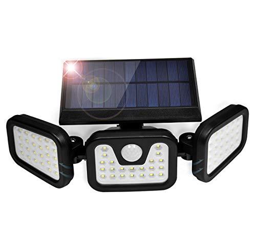 Lámparas solares para exteriores, con sensor de movimiento, 74 ledes, IP67, resistente al agua, rotables 360°, lámparas solares para exteriores, jardín, garaje, aceras, patio, 2200 mAh