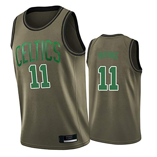 HRTE Men's Basketball Jersey,Celtics #11 Irving Playoff Bonus Edition,Sleeveless Shirt and Shorts,Fan Sportswear with Log,Outdoor Team Training Shirts ArmyGreen-XL