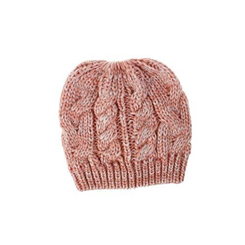 Paardenstaart beanie muts winter gebreide muts Chunky Cable Cap zachte stretch beanie muts voor vrouwen meisjes Size 1 roze