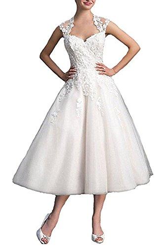YASIOU Hochzeitskleider Damen Vintage Kurz A Linie Weiß Herzausschnitt Tiefer Rücken Durchsichtig Hochzeitskleid Brautkleid