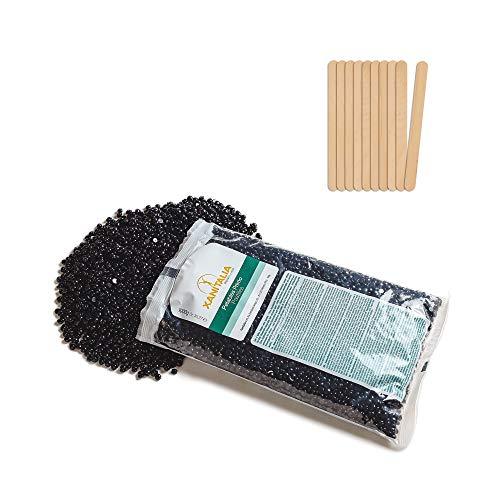 Cera brasiliana Black Waxing 1 kg professionale depilatoria indolore senza strisce composta da perle cera e 50 spatole abbassalingua piccole per ceretta brasiliana Black wax