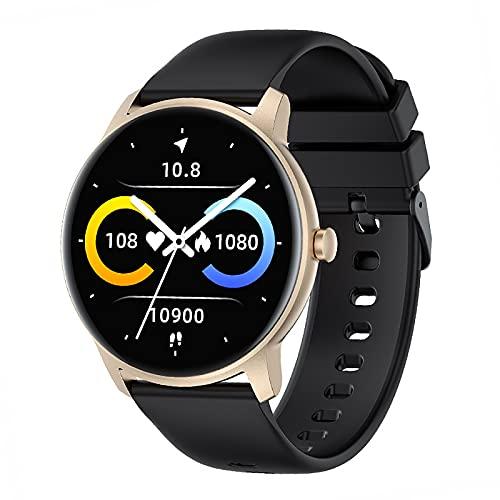 QFSLR Reloj Inteligente para Hombres Y Mujeres Frecuencia Cardíaca Presión Arterial Sueño Monitoreo De Spo2 Deportes Podómetro Impermeable Compatible con iOS Smartwatch Android,Oro